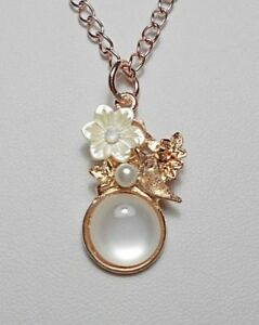 Flower-bird-enamel-pearly-pendant-rose-gold-colour-17-039-039-chain