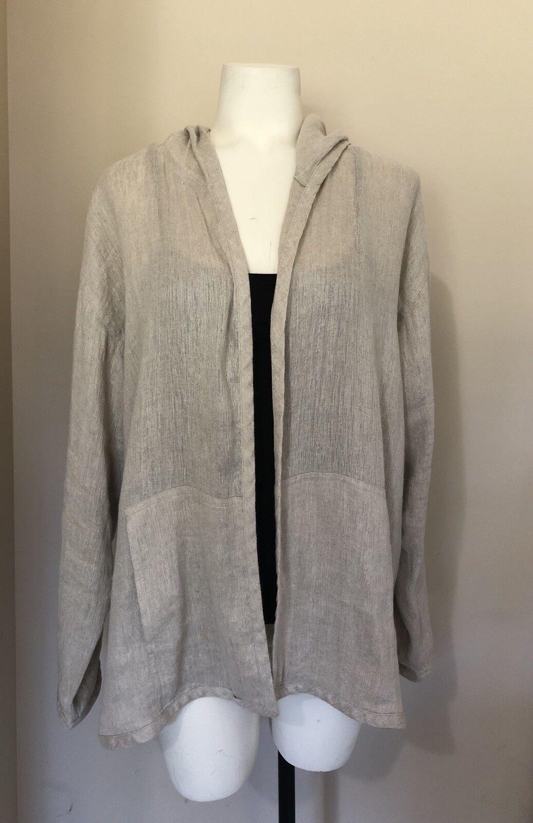 Eileen Fisher Open Front Linen Long Sleeve Cardigan Women Size Medium