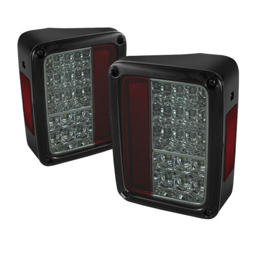 Jeep 07-15 Wrangler Smoke LED Rear Tail Lights Brake Lamp Set All Model