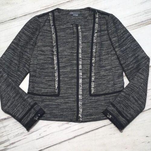 Vince Blazer Jacket Suit Coat Boucle Leather Trim