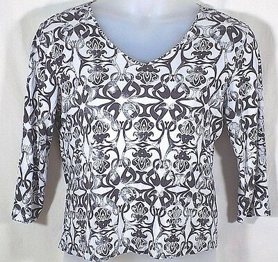 Chicos 2 Knit Top White Black Silver 3/4 Sleeves