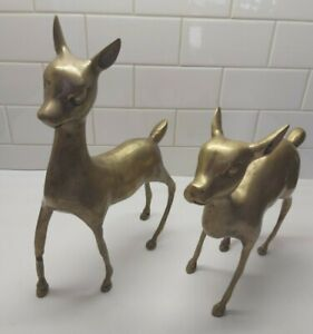 2-Vintage-Brass-LARGE-Deer-13-25-034-Tall-and-10-034-Tall