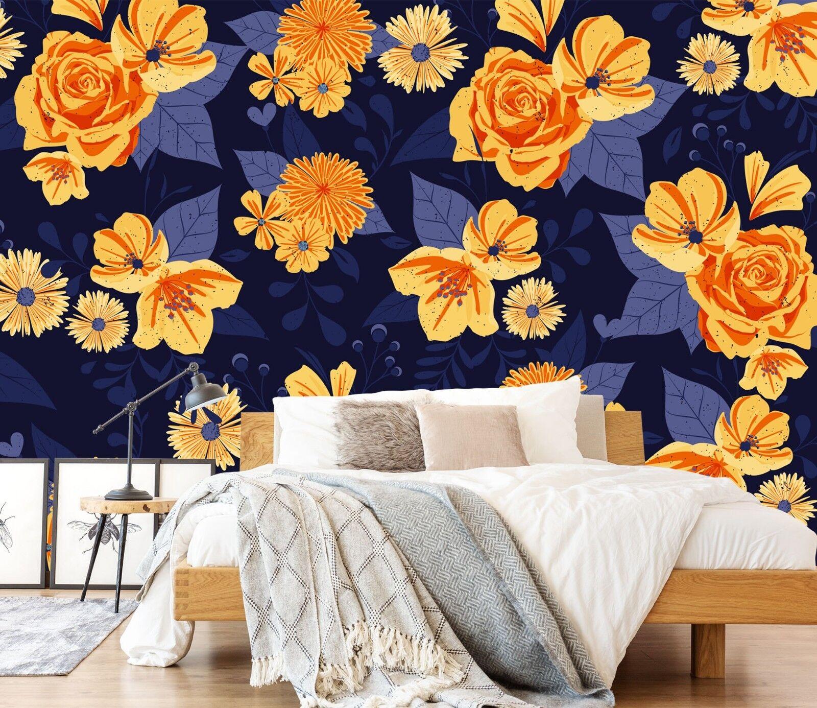 3D golden pink Flowers 42 Wallpaper Murals Wall Print Wallpaper Mural AJ WALL AU
