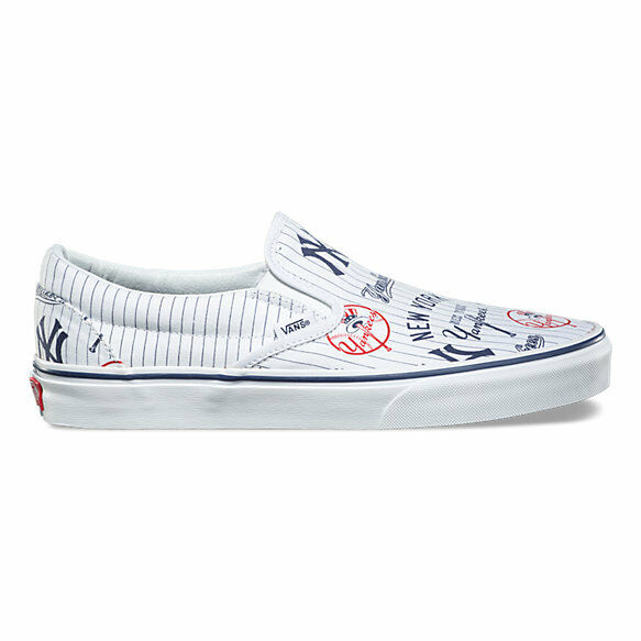 Vans New York Yankees Classic Slip On Kids 3.5 Femme 5 New Skate Blanc Chaussures