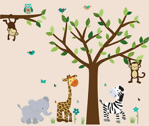 Image Is Loading Safari Animal Tree Decal Boys Room Sticker