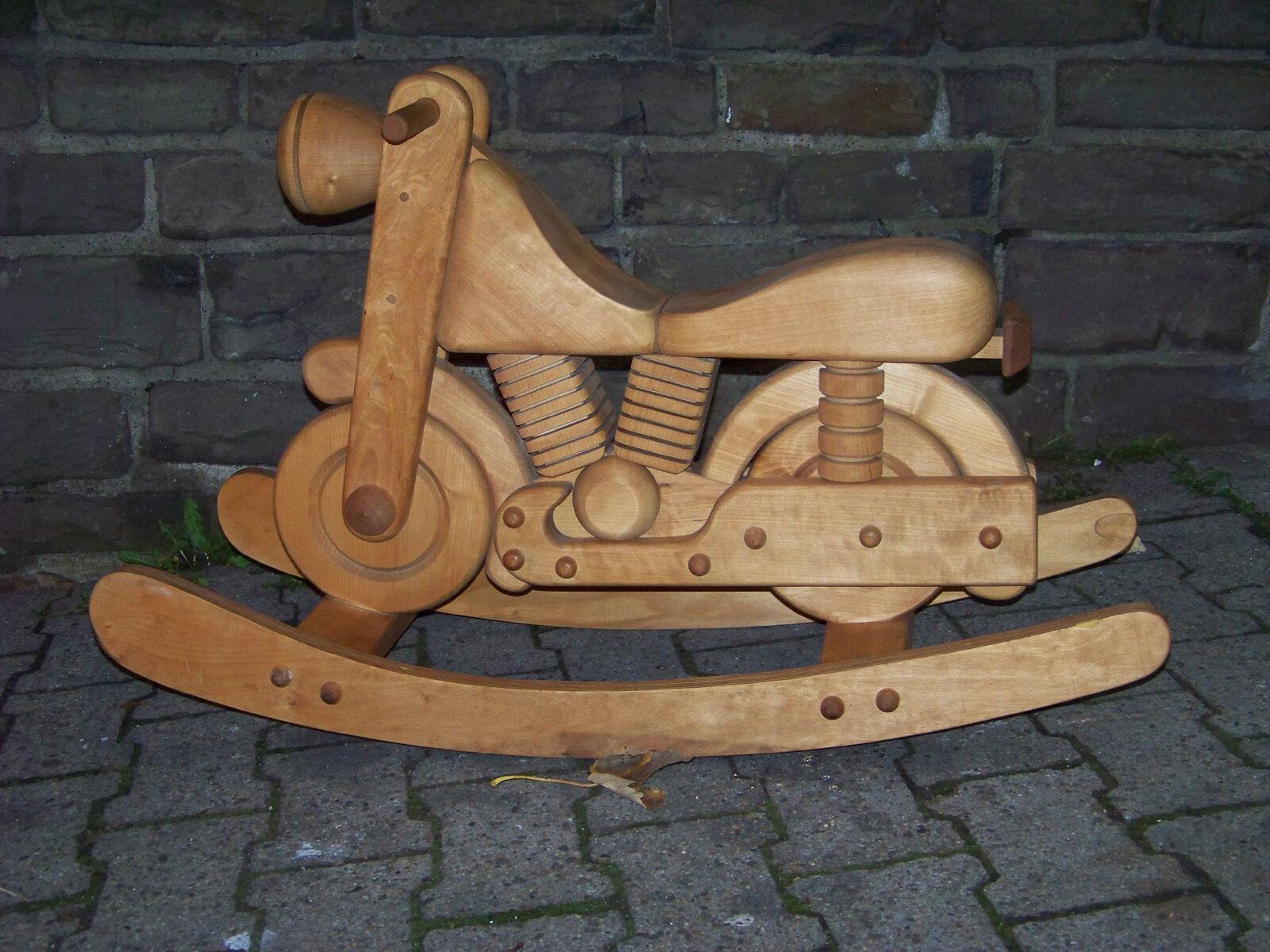 Schaukelmotorrad Harley-D. Look Schreinerarbeit Holzmotorrad Wippe Schaukelpferd