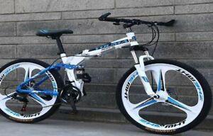 Unisex-Adult-Folding-Aluminium-frame-Hybrid-Bike-26-034-Full-Suspension-Bicycle
