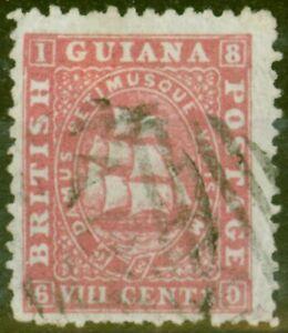 Britannique-Guyane-1868-8c-Carmin-SG74-Tres-Bien-Utilise-Ex-Frederick-Petit
