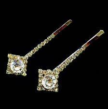 USA Bobby Pin Rhinestone Crystal Hair Clip Hairpin Gold Wedding Bridal Clear 06