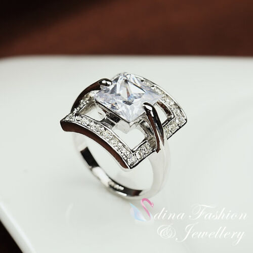 18CT White Gold Plated Simulated Diamonds Fashion Large Square Cut Ring