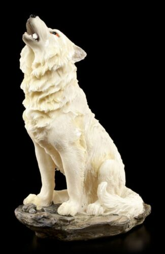 Heulende Wolf Figur weiß Der Ruf im Sturm Western Deko