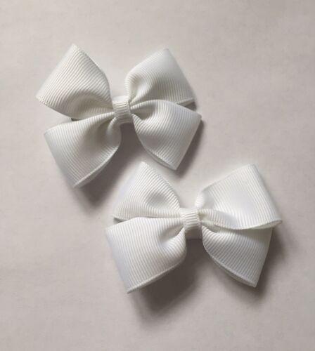 2 Packs De Blanc Big Bow cheveux clips//aligator clip//écoles uniforme