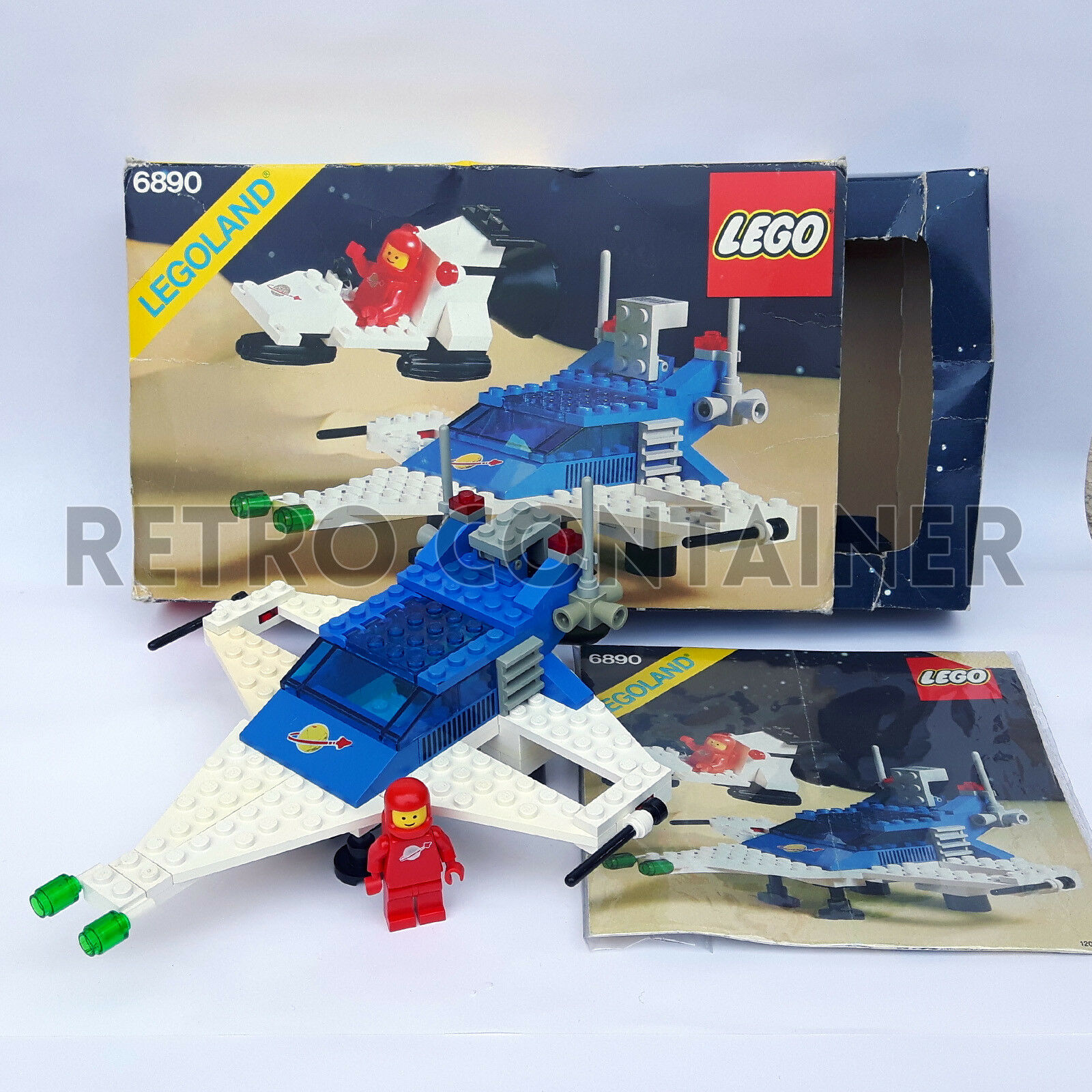 LEGO Set 100% Completo 6890 - Cosmic Cruiser 1982 Vintage Space Classic With Box