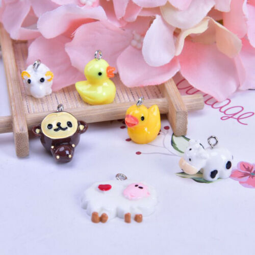 10x//Set Resin Duck Cattle Sheep Charms Pendant Jewelry DIY Making Craft Gift JB