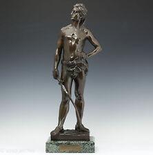 """Georges Récipon """"Défi"""" 1890 seltene Bronze Skulptur Fechter Art Nouveau French"""