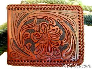 Nocona Mens Western Wallet Bi-fold Tooled and Laced Brown Leather