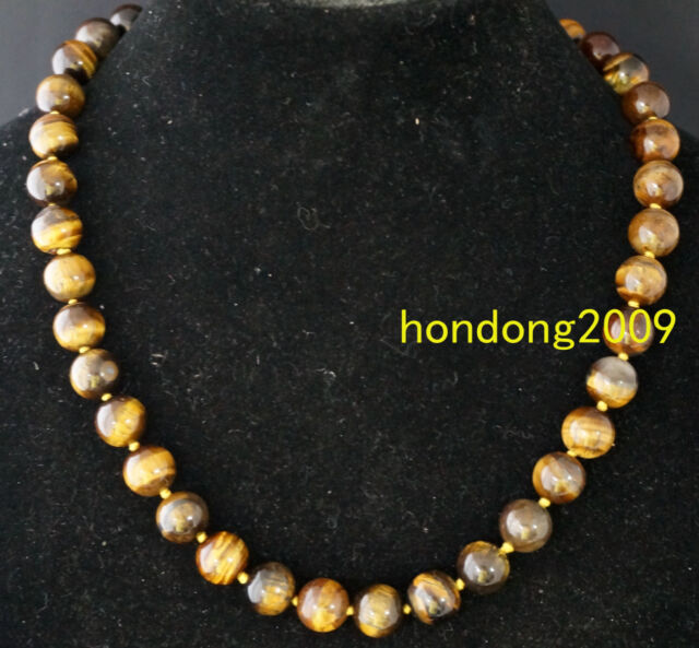 Real 10mm Natural Tiger Eye Beads Gemstone Necklace 18''L