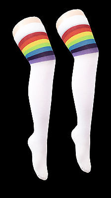 Ladies//Women Pink Thigh High Over The Knee Referee Socks with White Stripe