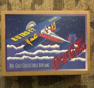 Vintage-Coca-Cola-Die-Cast-Collectible-Metal-BiPlane-F601-Ertl-Coke-Brand-Plane