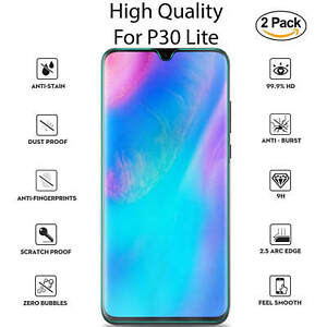 New-For-Huawei-P30-Lite-Tempered-Glass-Screen-Protector-Full-Protection-2-Pack