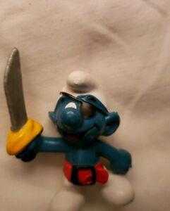 Smurfs 20104 Pirate Smurf Eye Patch Sword Vintage Figurine PVC Toy Peyo Figure