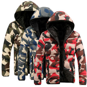 Men-039-s-Camouflage-Camo-Padded-Jacket-Coat-Quilted-Puffer-Hooded-Bubble-Down-Coats