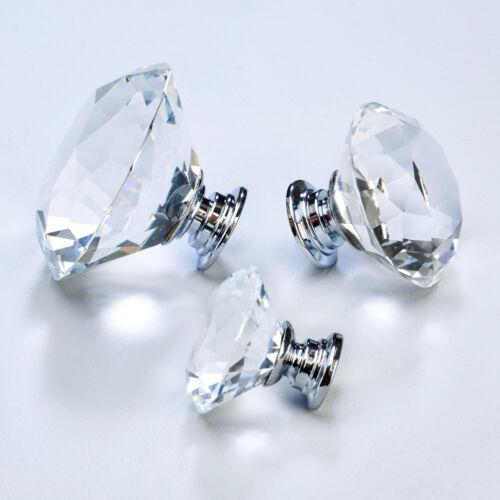 Crystal Faceted Clear Diamond Cupboard bedroom kitchen cabinet door knobs pulls