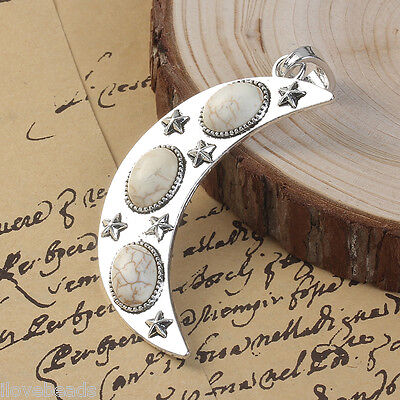 1PC Sliver Bohemian Moon Alloy Pendant with White Imitation Stone Cabochon love