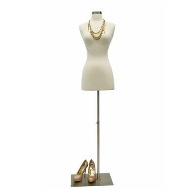 Size 2-4 Female Mannequin Dress Form+ Chrome Metal Base #FWPW-4 +  BS-05