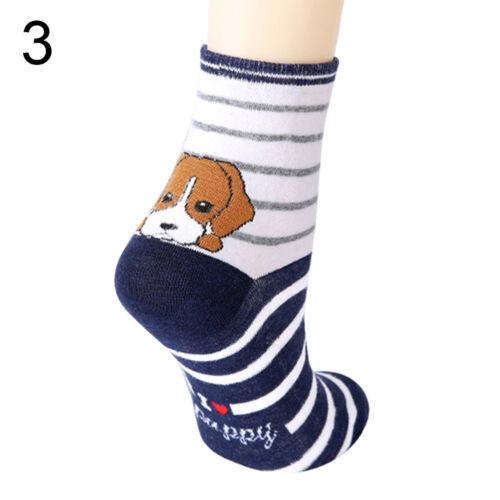Women Cute Cartoon Animal Striped Absorb Sweat Cotton Middle Tube Crew Socks Wit