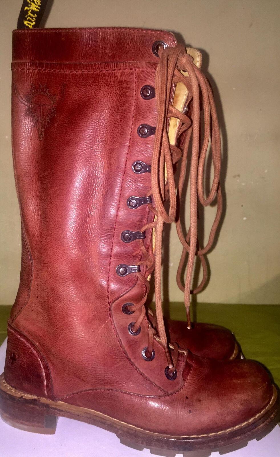 Unique Vintage Dr Martens Cross DMs Leather Zip stivali Bull Skull Stigma sz US 6