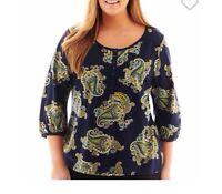 St. John's Bay® 3/4-sleeve Paisley Print Henley Womens Clothes Size Medium Tall
