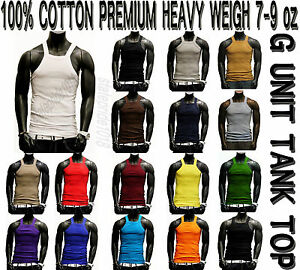 G-Unit Style heavy weigh Tank Top  Square Cut Wife Beater by THE BASIX 1,2,3PACK