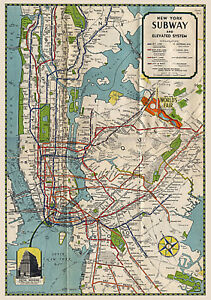New York Subway Map To Print.Details About 1939 Nyc New York Subway Map Elevated Routes Wall Art Office Poster Print Decor