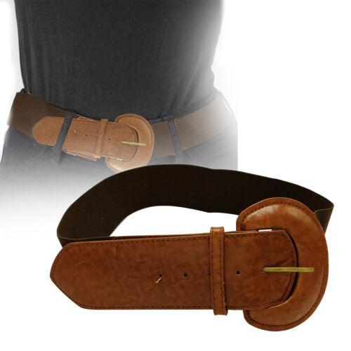 Donne Ragazze Elasticizzato Elastico Marrone Scuro Moda Cintura Fibbia Forma di D