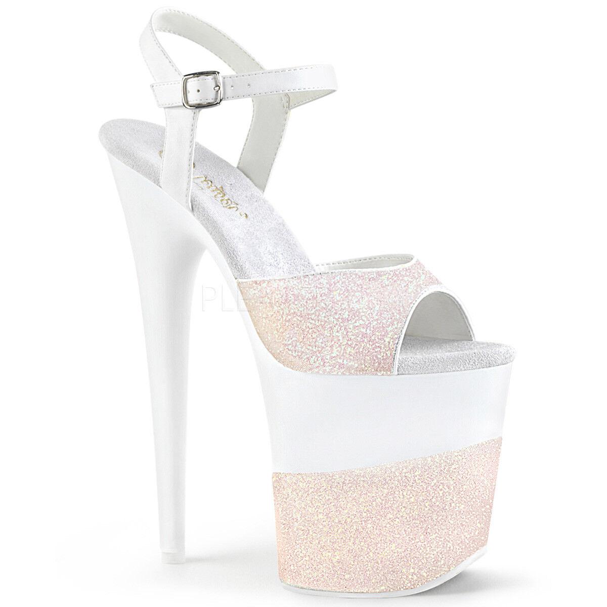outlet online economico Pleaser FLAMINGO-809-2G Donna  Opal Glitter Heels Platform Platform Platform Ankle Strap Sandals  contatore genuino