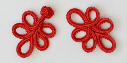 1 Pair Hand Stitches  Frog Fastener Closure Button Colour Red  #S6
