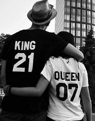 T-SHIRT pour femmes hommes KING QUEEN n° personnalisé couple petits ami MARIAGE