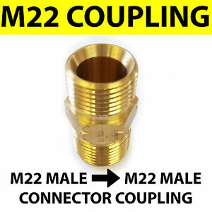 M22 Male M22 Male Coupling Connector Brass Pressure Washer Hose Adapter Ebay