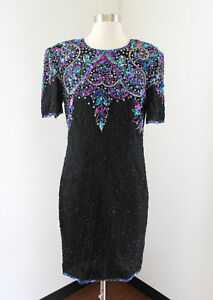Vtg-Stenay-Black-Silk-Beaded-Sequin-Evening-Cocktail-Dress-Size-8-Blue-Pink