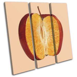 Apple-Orange-Concept-Fruit-Food-Kitchen-TREBLE-CANVAS-WALL-ART-Picture-Print