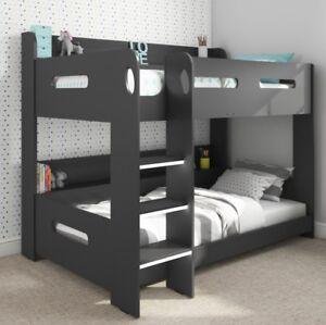 Kids Bunk Bed Wooden Storage Ladder Modern Double Bedroom Childrens