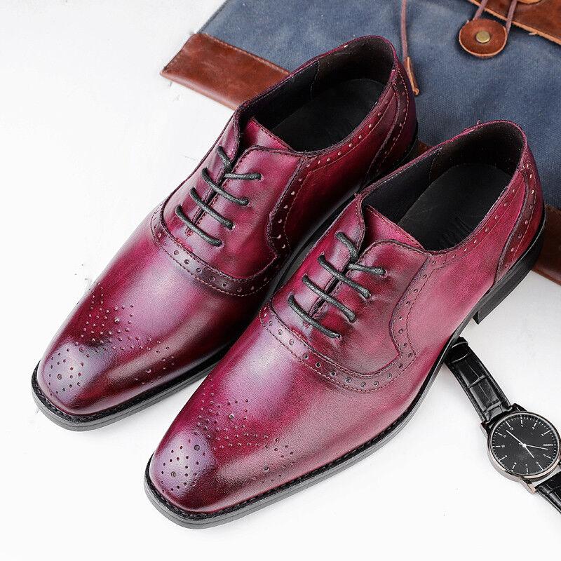 Para Hombre Puntera Puntiaguda Tallado Oxford Cuero Retro Vestido Formal Con Cordones Zapatos británicos