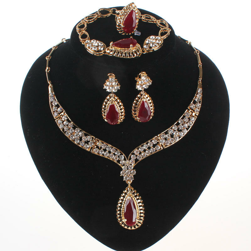 Wedding Accessories Women Bridal Gold Plated Ruby Crystal Ne