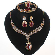 Wedding Accessories Women Bridal Gold Plated Ruby Crystal Necklace Jewelry Sets