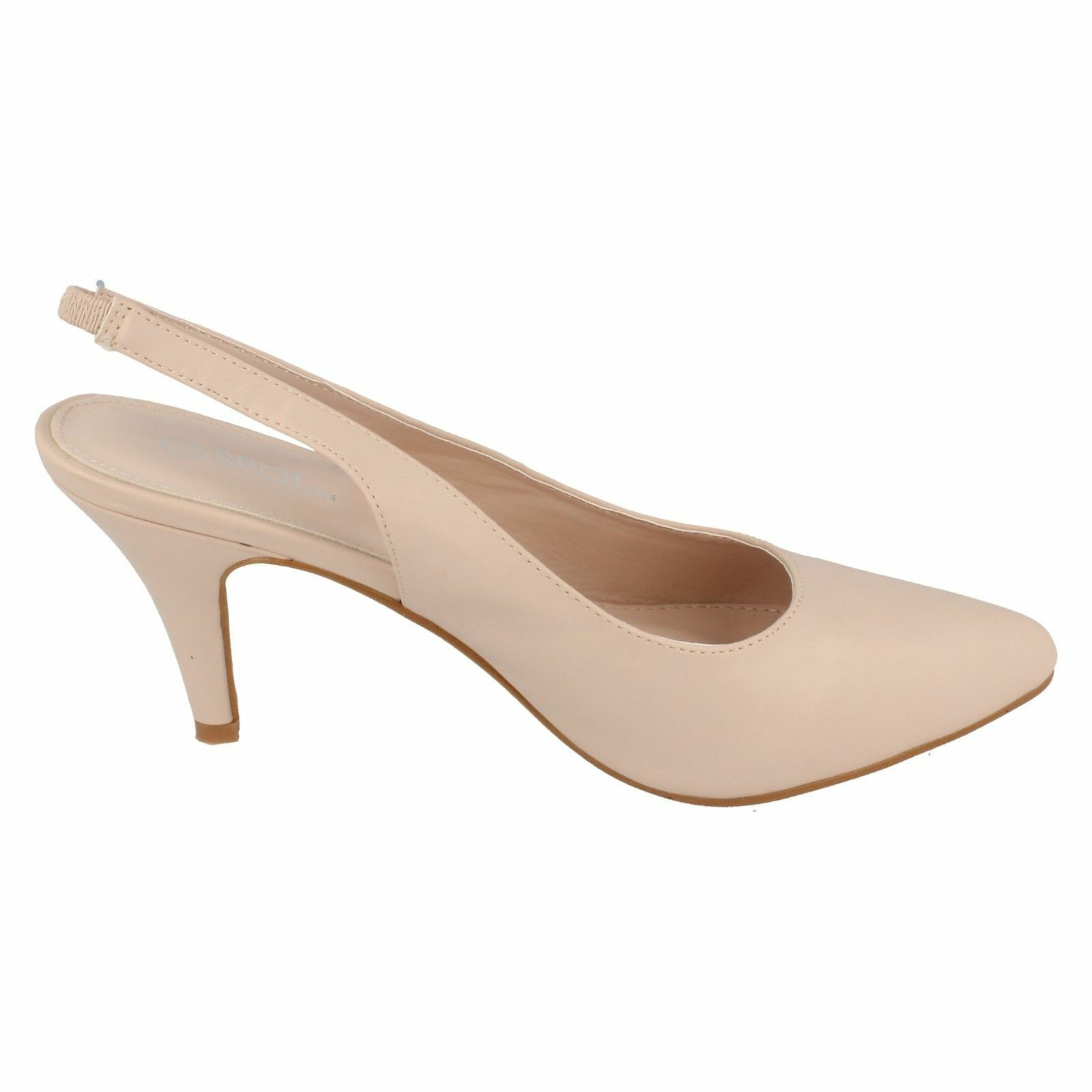 558f6327db11 Ladies Spot on Mid Heel Slingback Court Shoes F9987 Nude (ivory) UK 7  Standard for sale online