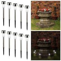 AMOS 10 x LED Lights Stainless Steel Solar Powered Stick Post Rechargeable