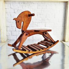 Dollhouse Miniature White Wooden Rocking Horse Chair Nursery Room Furniture 1:12