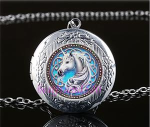 Celtique-Licorne-Photo-cabochon-verre-Tibet-Argent-Medaillon-Collier-Pendentif