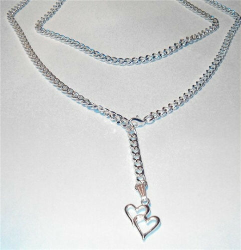 Lourd USA Superbe Qualité Sterling Silver SEP Lariat Collier Long Belly Chain